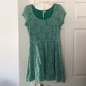 LC Lauren Conrad | Fit and Flare Teal Lace Dress